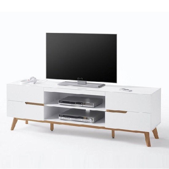 Merina lowboard tv stand in matt white and oak with 4 for Block tv stand