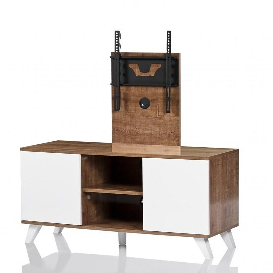Merlin Cantilever TV Stand In Oak And White With 2 Doors