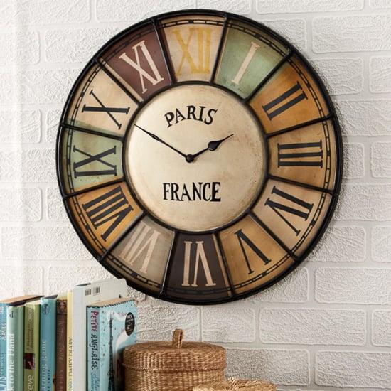 View Merope industrial style metal wall clock chalet