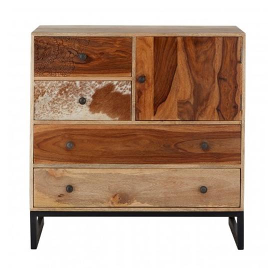 Merova Small Wooden 1 Door 4 Drawers Sideboard In Multicolours
