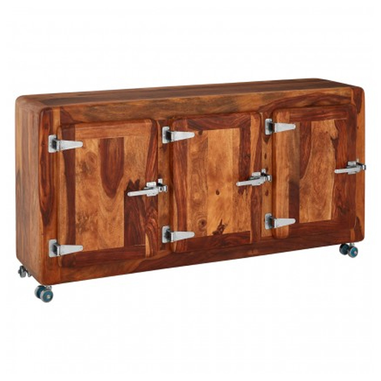 Merova Wooden 3 Doors Sideboard In Light Teak_2
