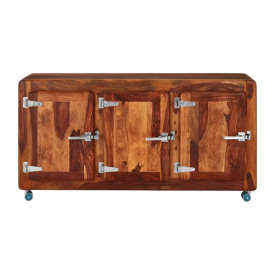 Merova Wooden 3 Doors Sideboard In Light Teak_1