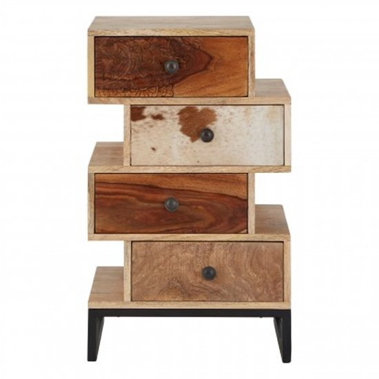 Merova Wooden Chest Of Drawers In Multicolours With 4 Drawers
