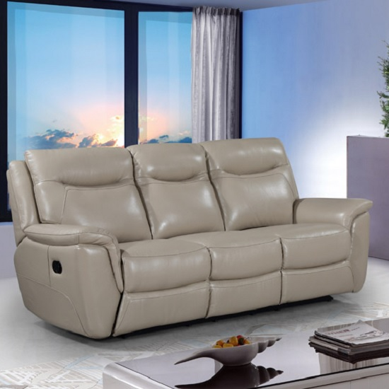 Merryn Contemporary Recliner 3 Seater Sofa In Taupe Faux Leather