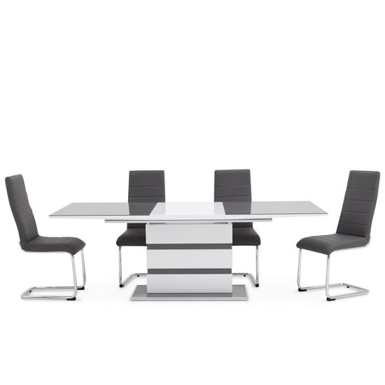 Merton Extendable Glass Dining Table High Gloss 6 Vegas Chairs