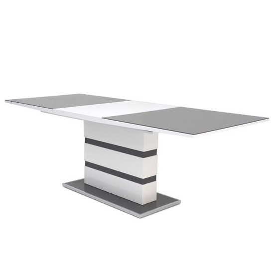 Merton Extendable Glass Dining Table With White Grey High Gloss