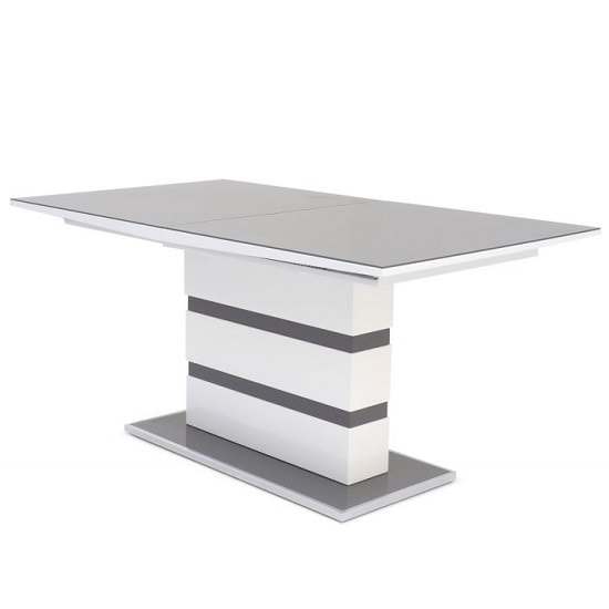 Merton Extendable Glass Dining Table With White Grey High Gloss_4