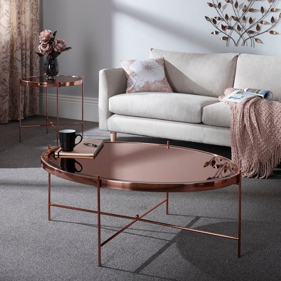 View Merton mirrored coffee table in rose gold with metal frame