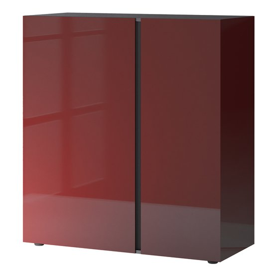 Mesa Chest Of Drawers In Graphite And Ruby Red High Gloss