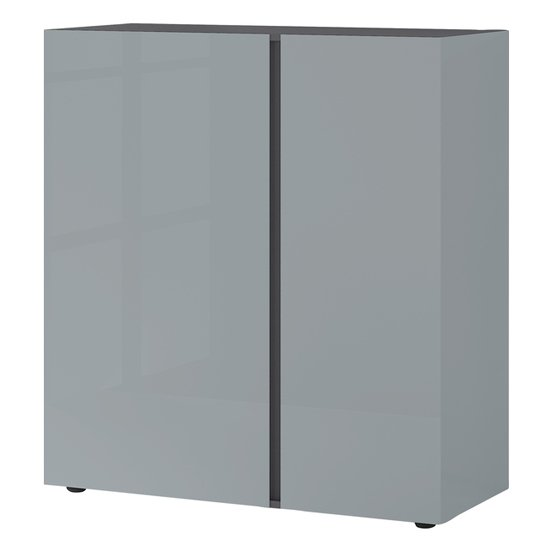 Mesa Chest Of Drawers In Graphite And Silver Grey High Gloss