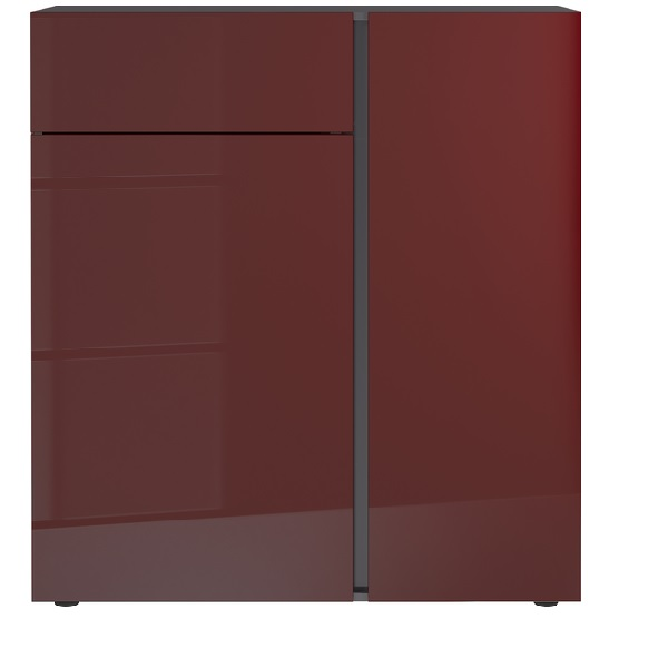 Mesa Chest Of Drawers In Ruby Red And Graphite High Gloss