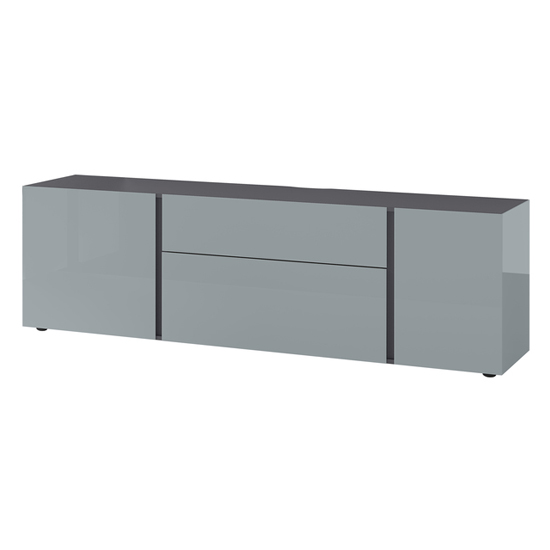 Mesa Lowboard TV Stand In Graphite And Silver Grey High Gloss