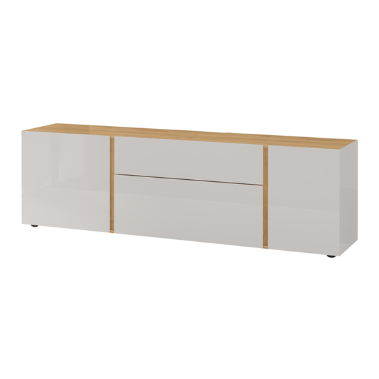 Mesa Lowboard TV Stand In Navarra Oak And Cashmere High Gloss