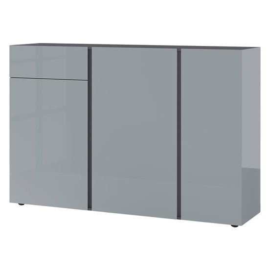 Mesa Sideboard In Graphite And Silver Grey High Gloss