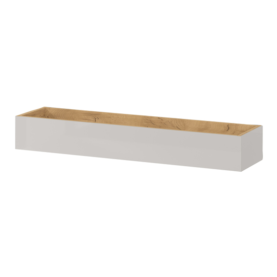Mesa Wall Shelf In Navarra Oak And Cashmere High Gloss