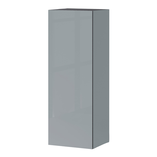 Mesa Wall Storage Cabinet In Graphite And Silver Grey High Gloss