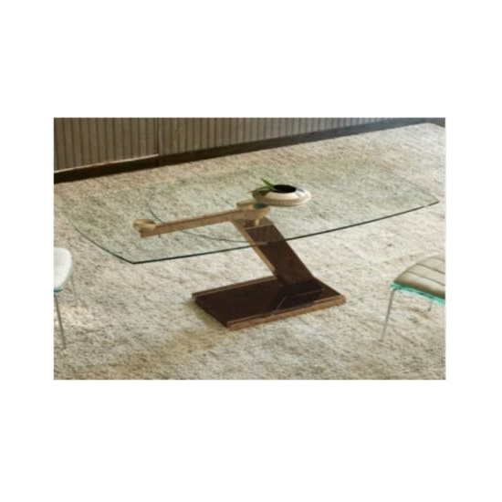 Messancy Extendable Glass Coffee Table With Black And Rosegold