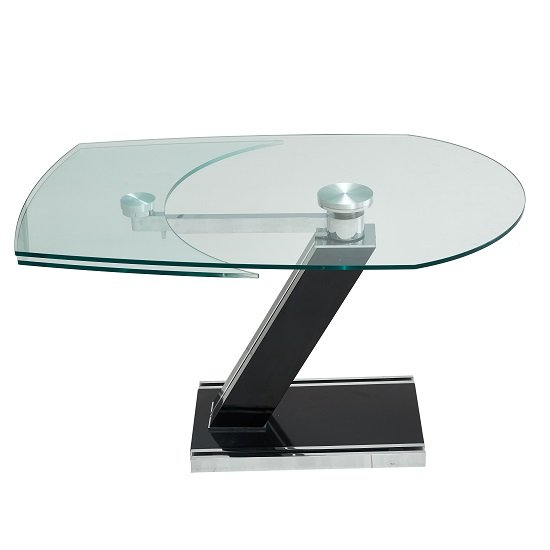 Messancy Extendable Glass Coffee Table With Black And Silver