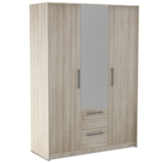 Messina Mirror Wardrobe In Shannon Oak And Linen With 3 Doors