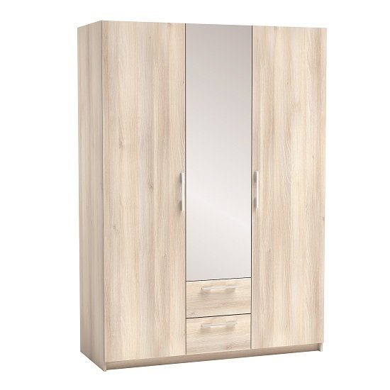 Messina Mirrored Wardrobe In Acacia With 3 Doors