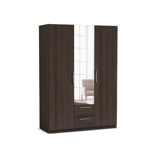 Messina Mirrored Wardrobe In Vulcano Oak With 3 Doors