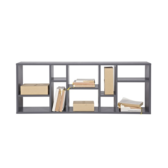 Messina Wooden Wall Mounted Shelving Unit In Steel Grey