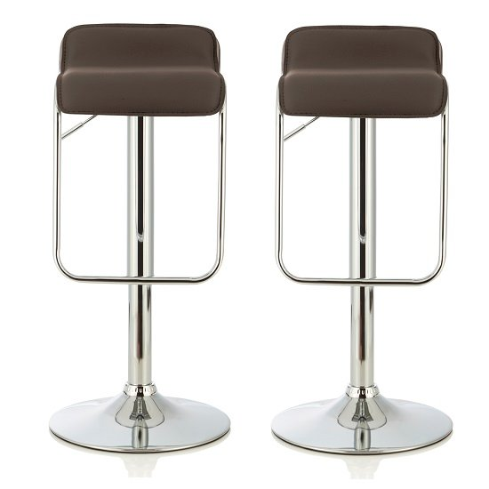 Mestler Modern Bar Stool In Cappuccino Faux Leather In A Pair