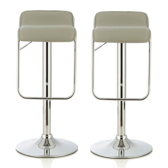 Mestler Modern Bar Stool In Grey Faux Leather In A Pair