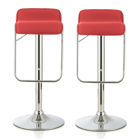Mestler Modern Bar Stool In Red Faux Leather In A Pair