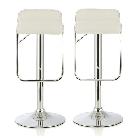 Mestler Modern Bar Stool In White Faux Leather In A Pair