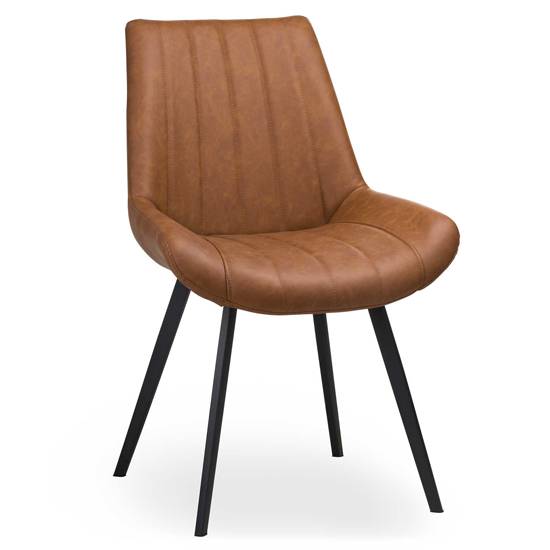 Mestra Faux Leather Dining Chair In Tan