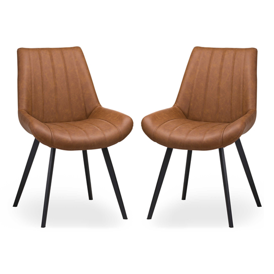 Mestra Tan Faux Leather Dining Chairs In Pair