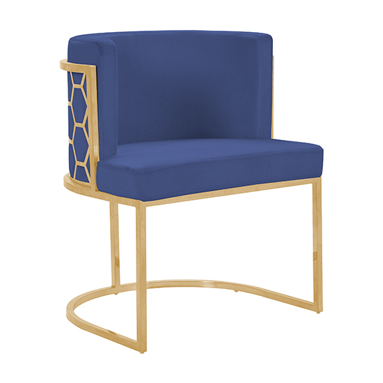 Meta Blue Velvet Dining Chairs In Pair With Gold Legs_2