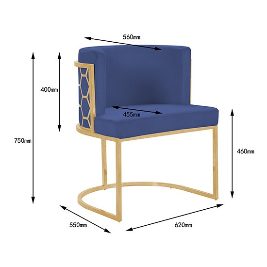 Meta Blue Velvet Dining Chairs In Pair With Gold Legs_5