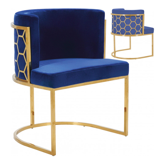Meta Blue Velvet Dining Chairs In Pair With Gold Legs