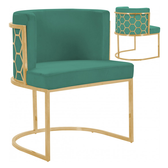 Meta Green Velvet Dining Chairs In Pair With Gold Legs