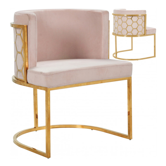 Meta Pink Velvet Dining Chairs In Pair With Gold Legs