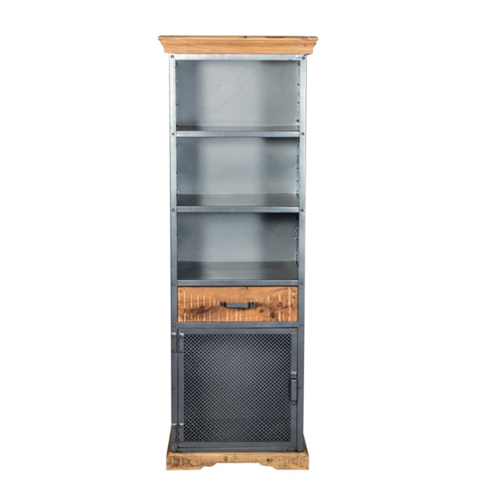 Metapoly Industrial Bookcase In Acacia With 1 Door 1 Drawer_2
