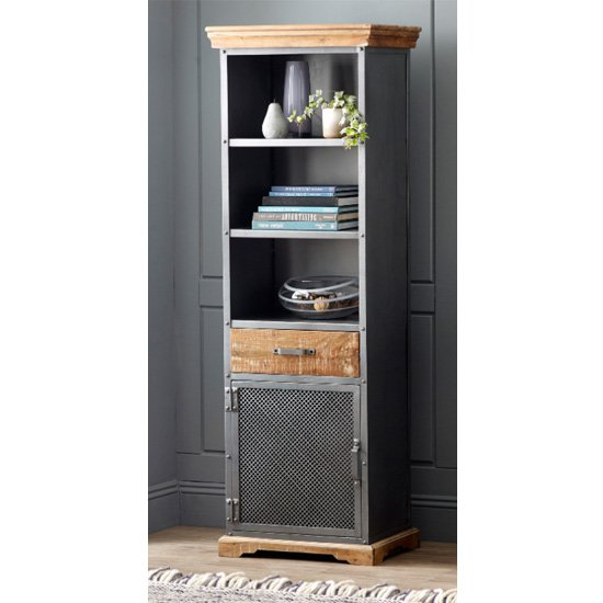 Metapoly Industrial Bookcase In Acacia With 1 Door 1 Drawer_1