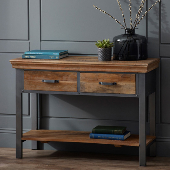 View Metapoly industrial console table in acacia with 2 drawers