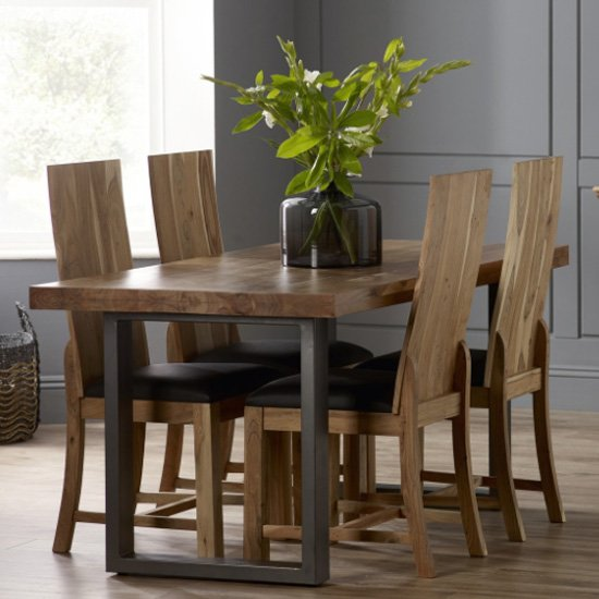 View Metapoly industrial dining table in acacia with 4 chairs
