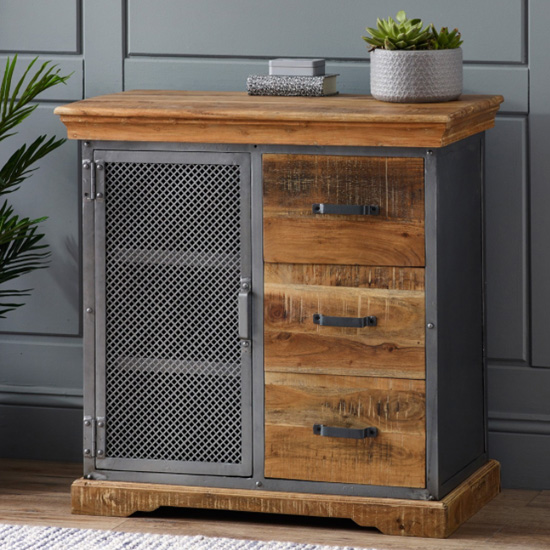 Metapoly Industrial Sideboard In Acacia With 1 Door 3 Drawers