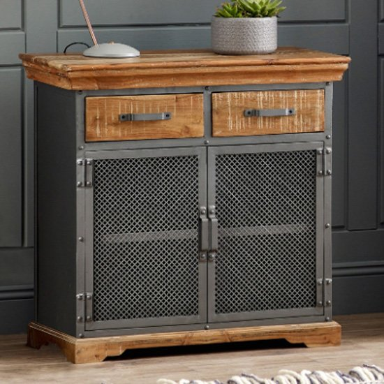 Metapoly Industrial Sideboard In Acacia With 2 Doors 2 Drawers