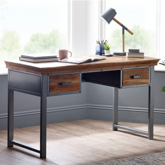 Metapoly Industrial Study Desk In Acacia With 2 Drawers