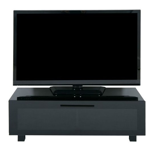 Metini Glass TV Stand With High Gloss Piano Black