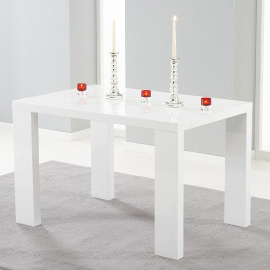 Metoz Rectangular Wooden Dining Table In White High Gloss