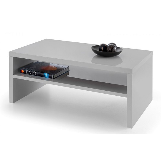 Metric Coffee Table In Grey High Gloss With UnderShelf_1