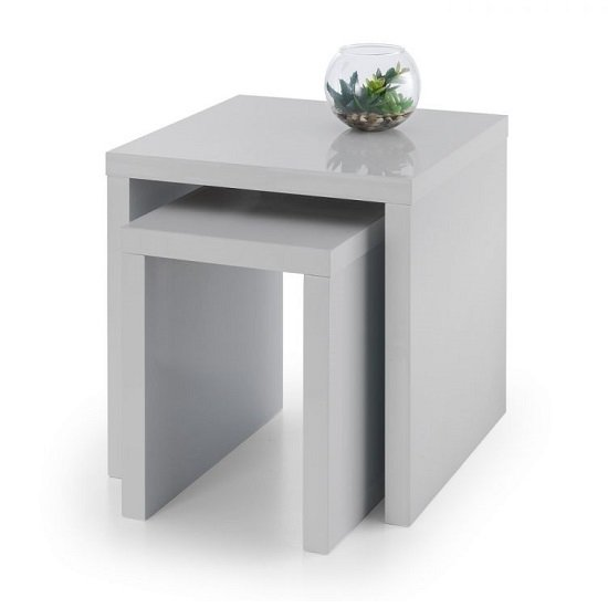 Metric 2 Nesting Tables Square In Grey High Gloss