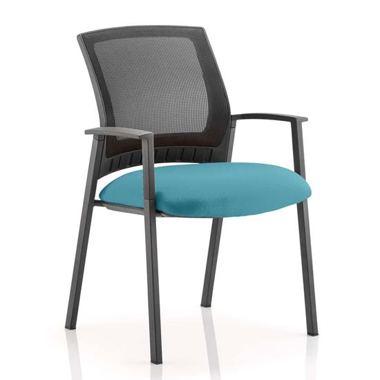 Metro Black Back Office Visitor Chair With Maringa Teal Seat