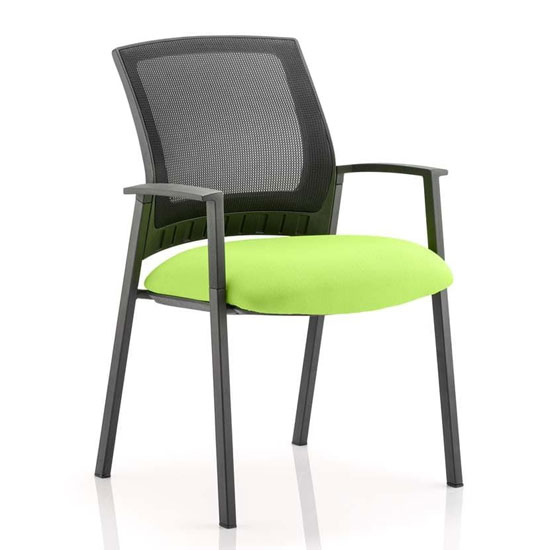 Metro Black Back Office Visitor Chair With Myrrh Green Seat